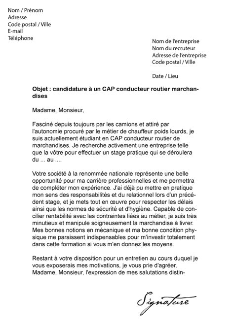 Lettre De Motivation Stage Transport Et Logistique Lettre De Motivation Cap Conducteur Routier Marchandises Mod 232 Le De Lettre
