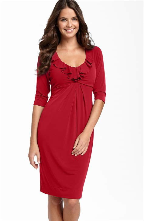 I Jersey Dresses by Donna Ricco Ruffle Matte Jersey Dress In Cherry