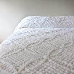 Antique Looking Desk Vintage Chenille Bedspread In Summer White 1950s Cotton