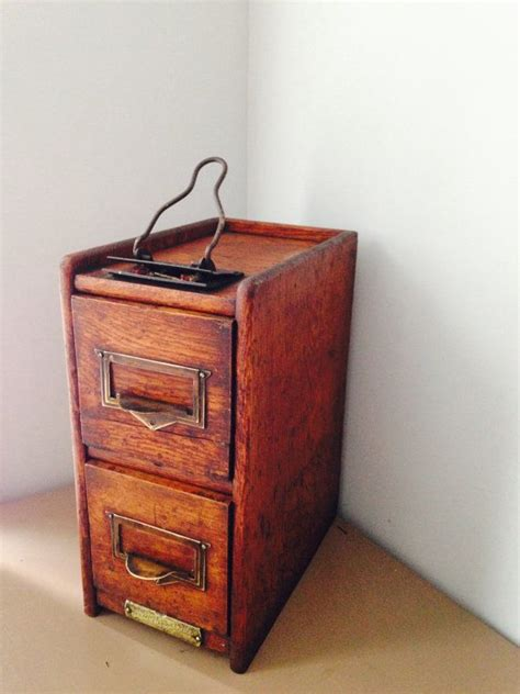 antique 2 drawer card file cabinet