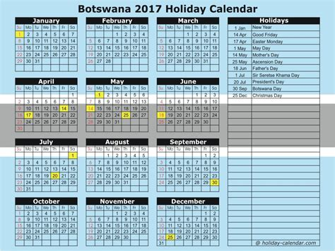 Botswana Calend 2018 Botswana 2017 2018 Calendar
