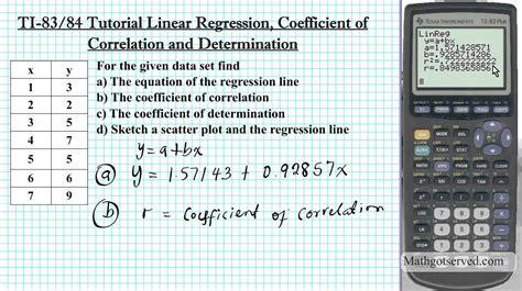 calculator regression ti 83 ti 84 linear regression tutorial coefficient of