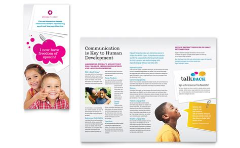free therapy brochure templates speech therapy education tri fold brochure template word