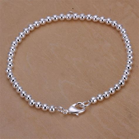 925 Sterling Silver Beaded Bangle new 925 sterling silver plated cuff chain