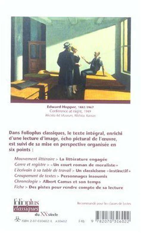 Resume L Etranger De Camus by Livre L 233 Tranger Albert Camus