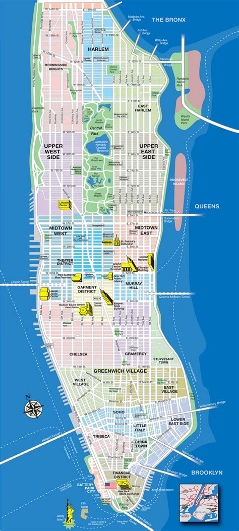 manhattan city map manhattan tourist map manhattan new york mappery