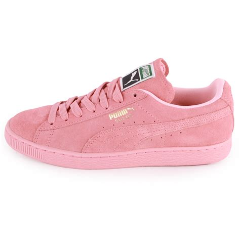 light pink and white shoes puma suede classic womens suede trainers light pink new