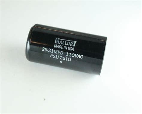mallory capacitor 110vac psu2610 mallory capacitor 26uf 110v application motor start 2020048497