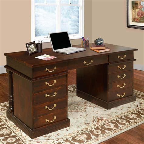 rustic solid wood rectangular executive office desk with