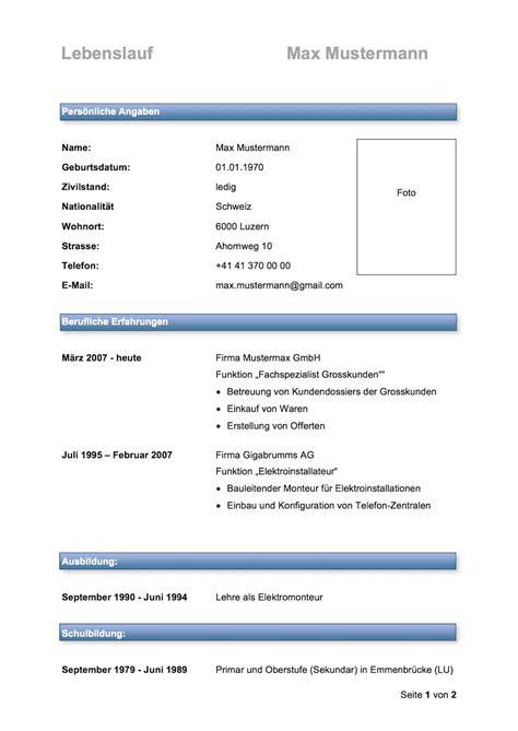 Cv Muster by Lebenslauf Vorlage Muster Und Vorlagen Kostenlos