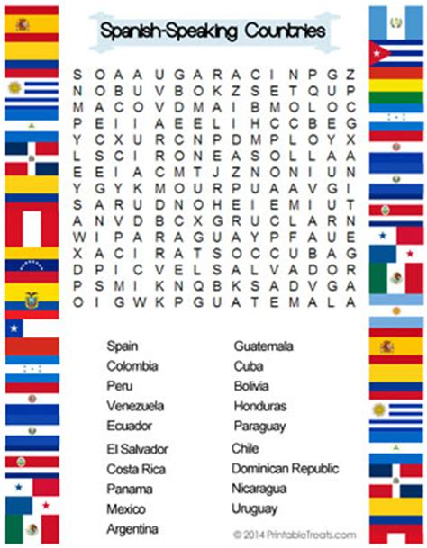 printable word search countries spanish speaking countries word search printable treats com