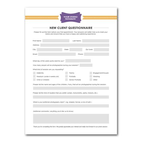 new customer template new client questionnaire form template for photographers