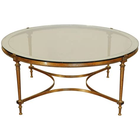 Glass Brass Coffee Table Brass And Silvered Brass Coffee Table With Ringed Mirror Glass Top At 1stdibs