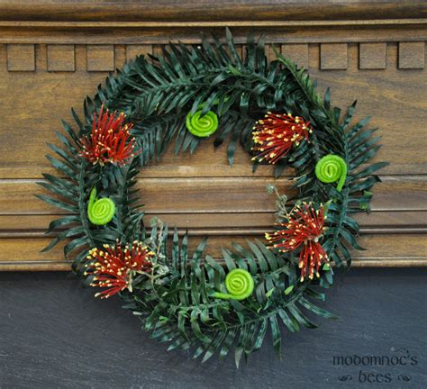 new zealand christmas wreath with pohutukawa flower and