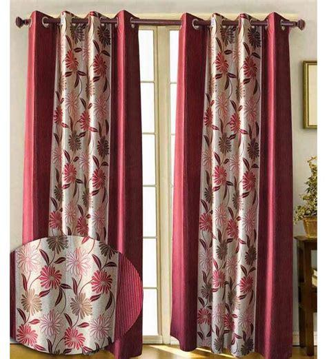 deep pink curtains sai arpan flower print door curtain deep pink cream7 ft
