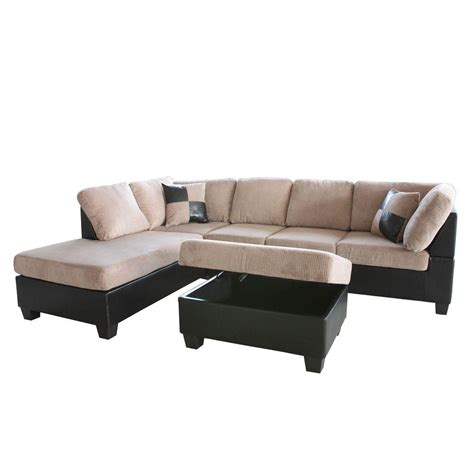 Corduroy Sectional Sofa Venetian Worldwide Taylo Left Sectional Sofa And Ottoman In Saddle Brown Corduroy Black