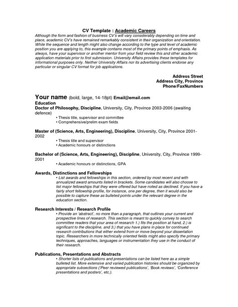 Curriculum Vitae Academia by Academic Templates Curriculum Vitae Tips And Samples
