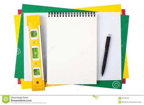 Notebook Level And A Black Pen On Colored Paper Stock How To Make Colored Paper L