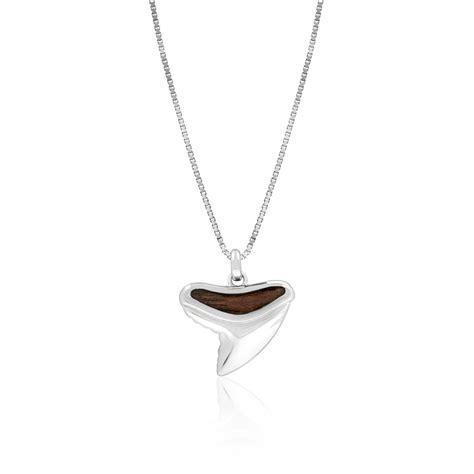 sterling silver koa wood child s shark tooth pendant