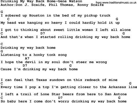 country my way back home gene watson lyrics