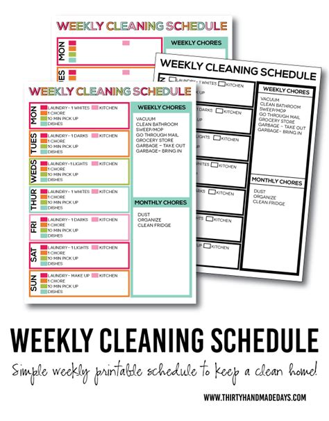 Flylady Cleaning Schedule Printable