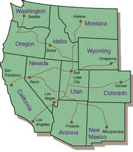 Map Western United States by Utah Travel Center