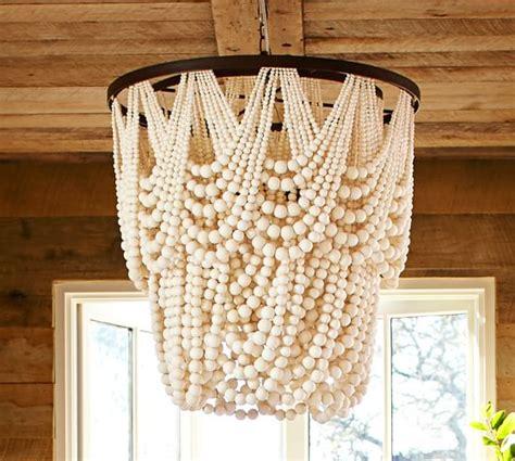 wood bead chandelier pottery barn amelia indoor outdoor wood bead chandelier pottery barn