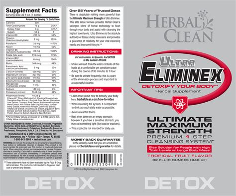 Eliminex Detox Drink by Ultra Eliminex Premium Detox Herbal Clean