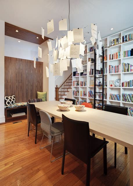 glass doors built in bench ladder bookcase dining room modern with black dining chair
