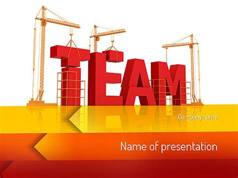 Team Building Under Construction Presentation Template For Powerpoint And Keynote Ppt Star Powerpoint Templates Building Construction
