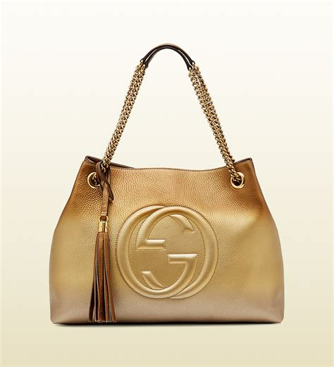 Gucci Soho Bag gucci soho shaded leather shoulder bag in gold beige lyst