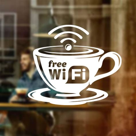 Wall Transfer Stickers free wifi cup window sign vinyl sticker graphics cafe shop