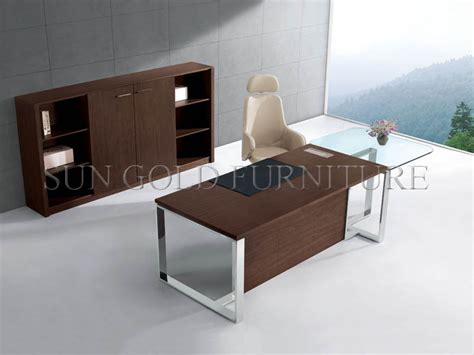 executive glass office desk modern office desk with glass top office table with steel