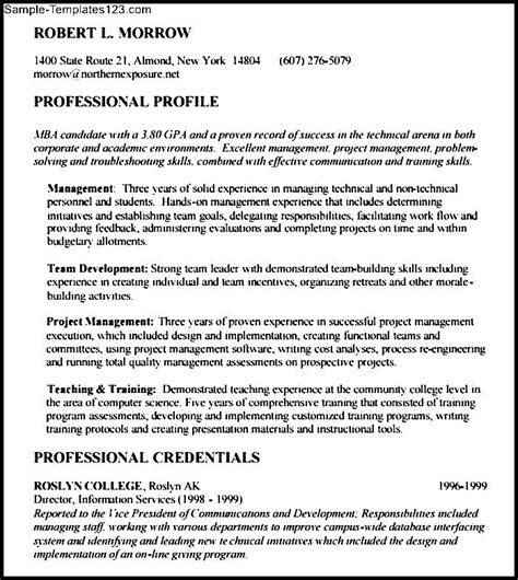 Mba Resume Objective Statement by Mba Resume Objective Sle Templates Sle Templates