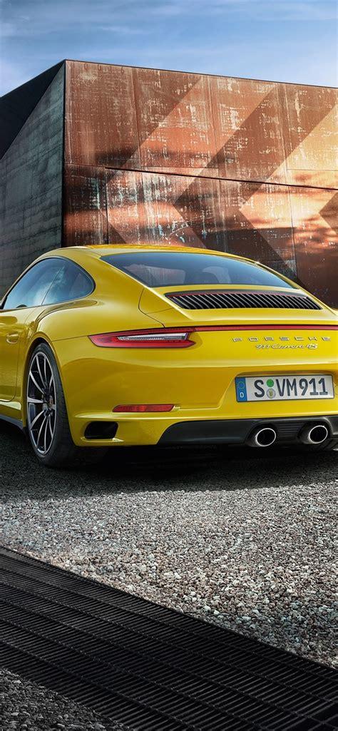 porsche  carrera  yellow supercar rear view