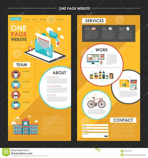 Attractive One Page Website Template Design With Newsletter Elem Stock Vector Image 53419776 One Page Newsletter Template