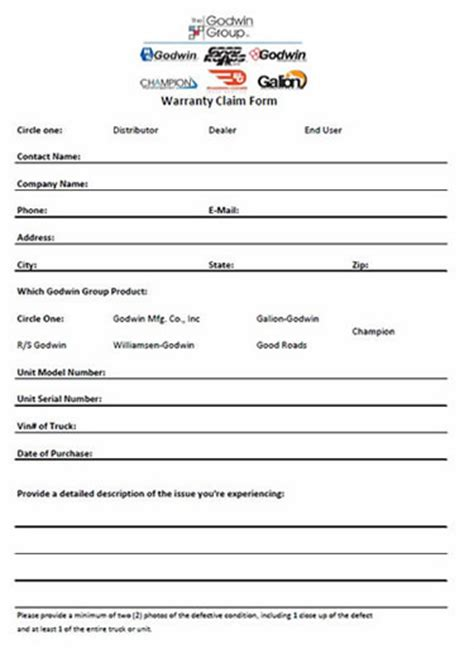 warranty claim form template galion warranty statement