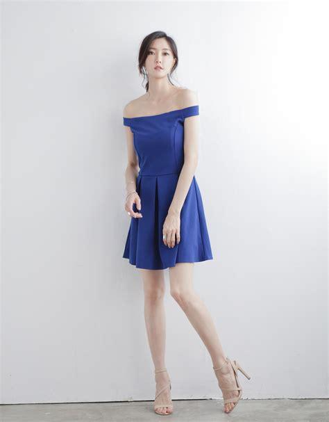 Korean Midi Dress by Kodz Womens Shoulder Midi Dress With Pleated Japanese
