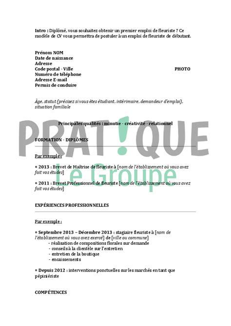 Modèle Cv Débutant by Resume Format Exemple De Cv Gratuit Fleuriste