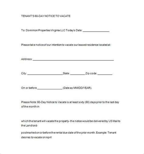60 day notice to vacate template notice template 104 free word pdf format