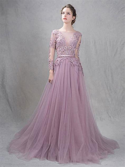 dusty purple dusty purple princess prom formal dress with open back