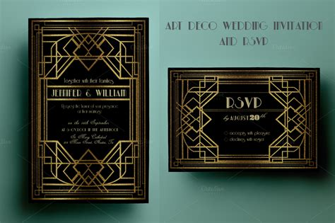 art deco wedding invitation and rsvp invitation