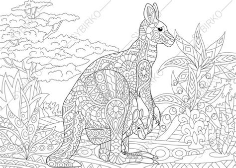 colouring book for adults nz kangaroo family coloring book page by