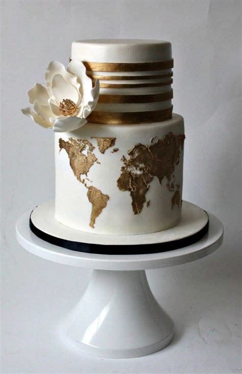gold themed cake 20 travel themed wedding cakes southbound bride
