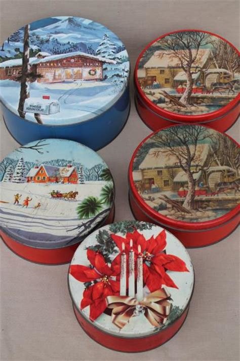 vintage christmas gift tins candy cookies tin lot in