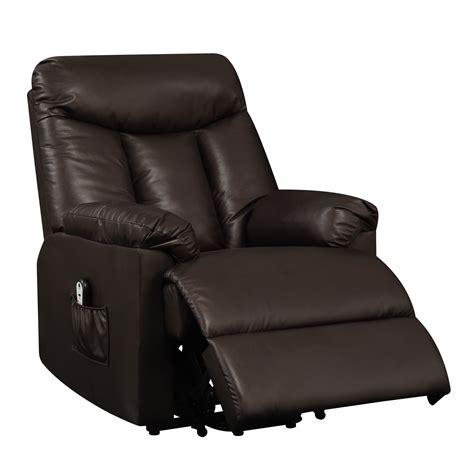 electric lift chair recliner brown leather power motion