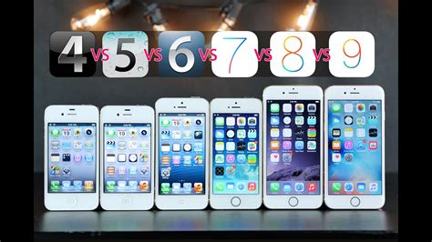 iphones compared on original ios versions ios 4 vs 5 vs 6 vs 7 vs 8 vs 9