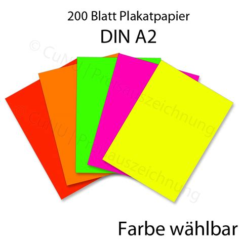 Plakat Papier by 200 Blatt Plakatpapier A2 Leuchtpapier A2 Papier F 252 R