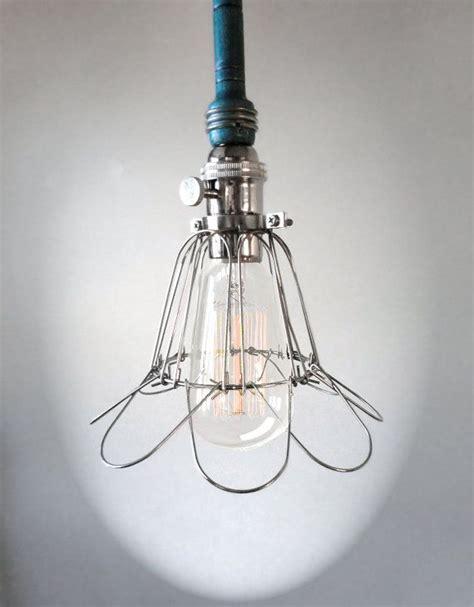 industrial teal blue cage light edison bulb pendant