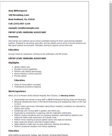 Nursing Assistant Skills On Resume cna resume exles resume and cover letter resume and